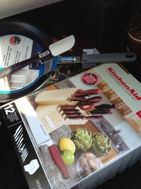 A skillet, a spatula or two, some knives and a board game.