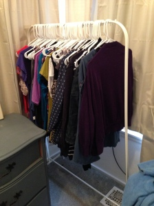"My $10 clothing rack from IKEA. Now placed in my dressing room area where my ""frequently used"" clothing is hanging."