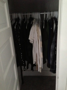 My bedroom closet. AKA The place where most of my normal clothes hang.