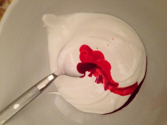 You have no idea how much food coloring it takes to turn white frosting into red. A whole bottle. For real.