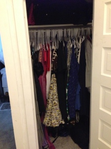 The other bedrooms (soon to be TV rooms) closet. Where all my dresses and costumes hang.