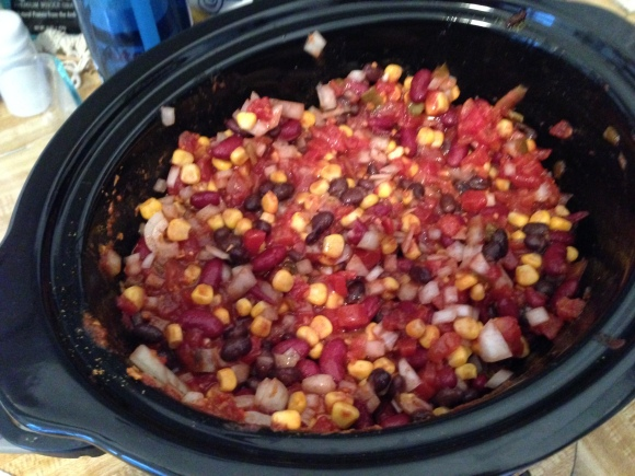 No big deal. Just threw a whole bunch of stuff into a crock pot and stirred it. Done.
