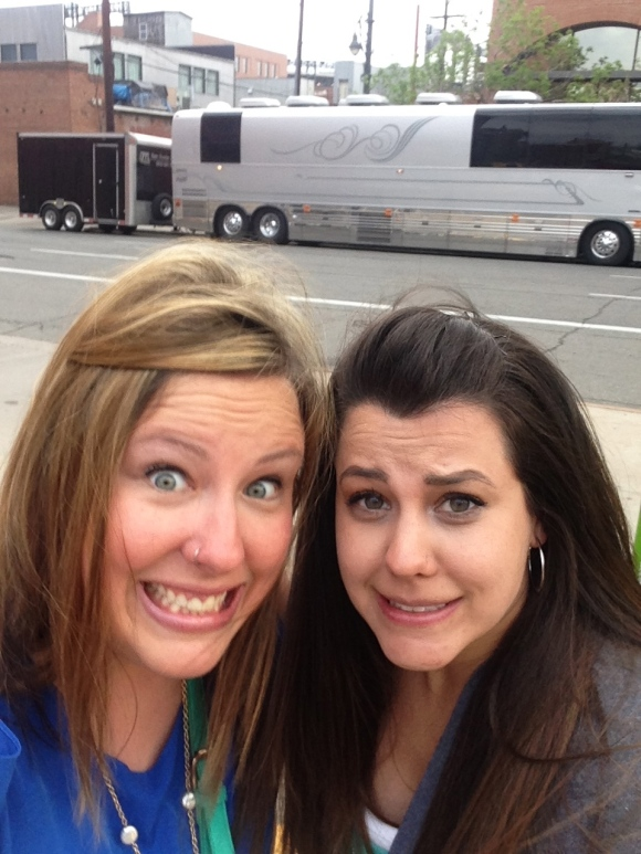It was cold. And possible that we were standing in front of THEIR tour bus. So, I don't know if we were excited/nervous/cold based on our faces. It's possible it's all three.